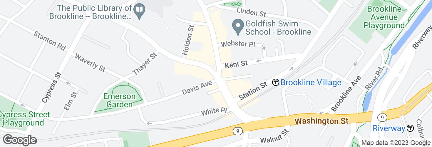 Map of Washington St @ Harvard St and surrounding area