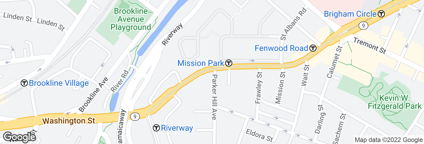 Map of Huntington Ave @ Parker Hill Ave and surrounding area