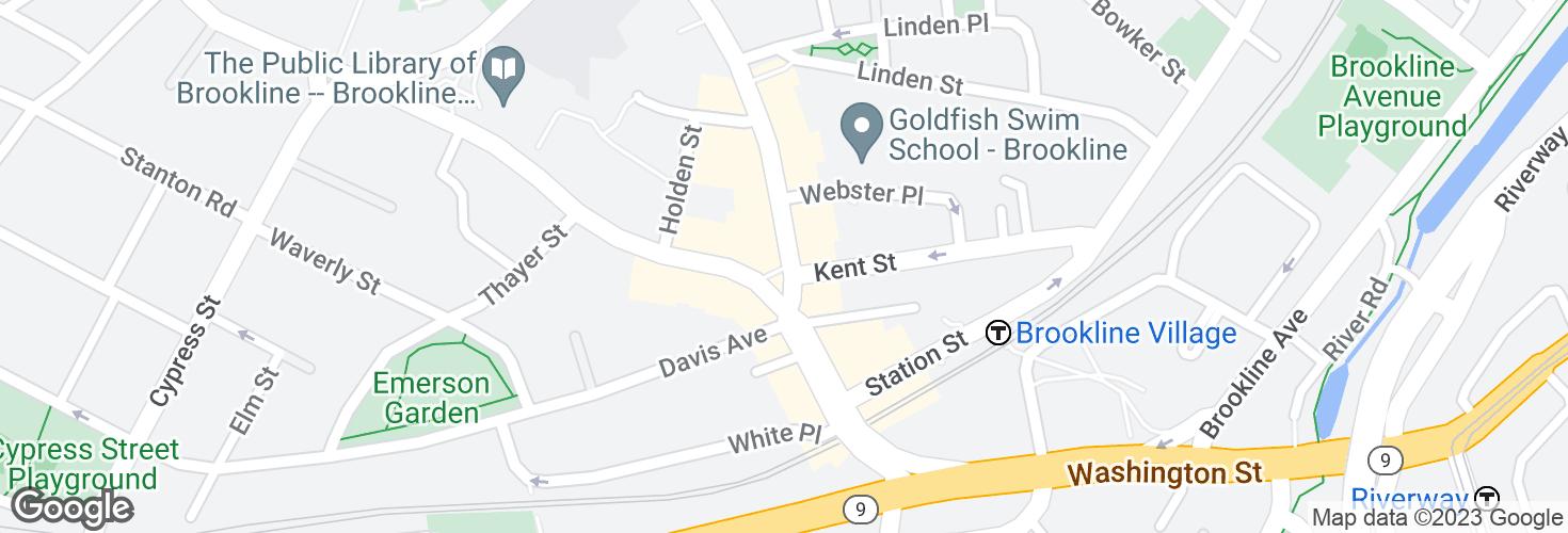 Map of Harvard St @ Washington St and surrounding area