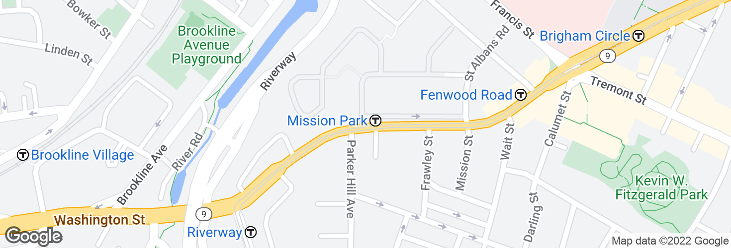 Map of 835 Huntington Ave opp Parker Hill Ave and surrounding area