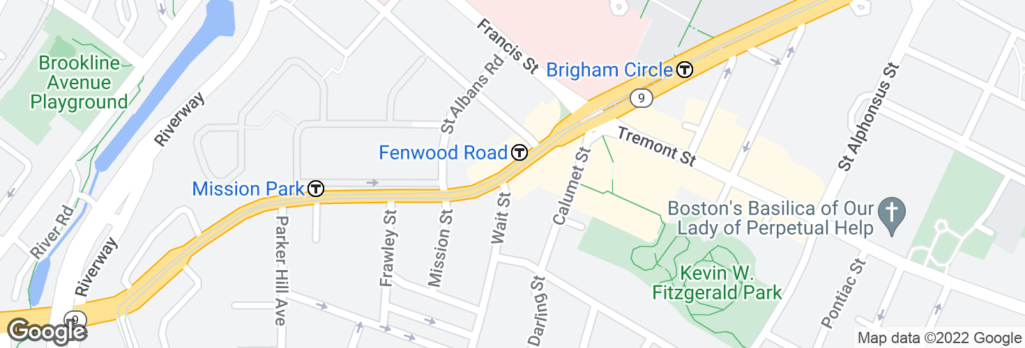 Map of Huntington Ave opp Fenwood Rd and surrounding area