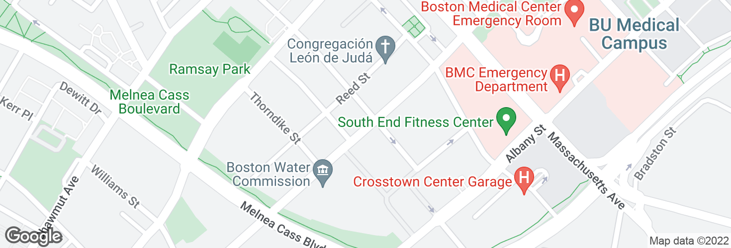 Map of Harrison Ave @ E Lenox St and surrounding area