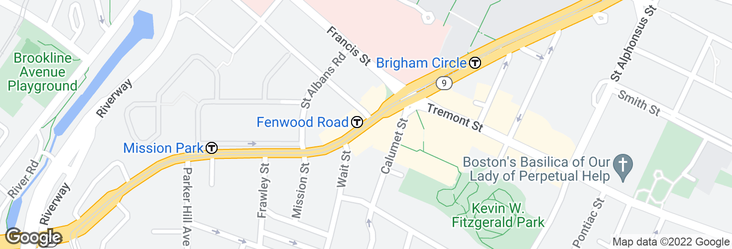 Map of Fenwood Road and surrounding area