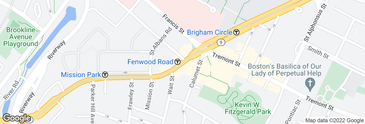 Map of Huntington Ave @ Fenwood Rd and surrounding area