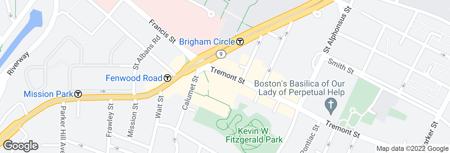 Map of Tremont St opp Wigglesworth St and surrounding area
