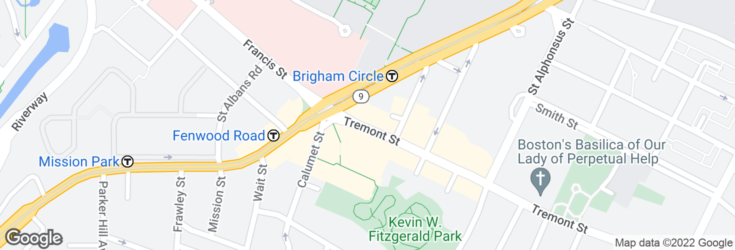 Map of Tremont St @ Huntington Ave and surrounding area