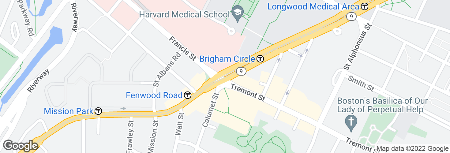 Map of Brigham Circle and surrounding area