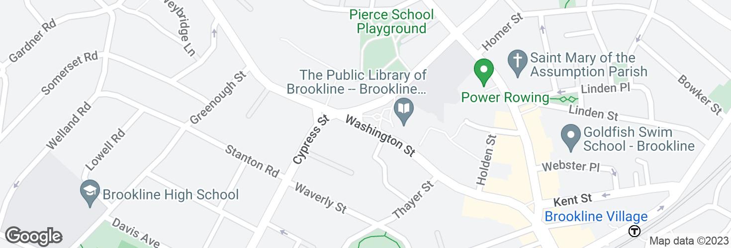 Map of Washington St @ School St and surrounding area