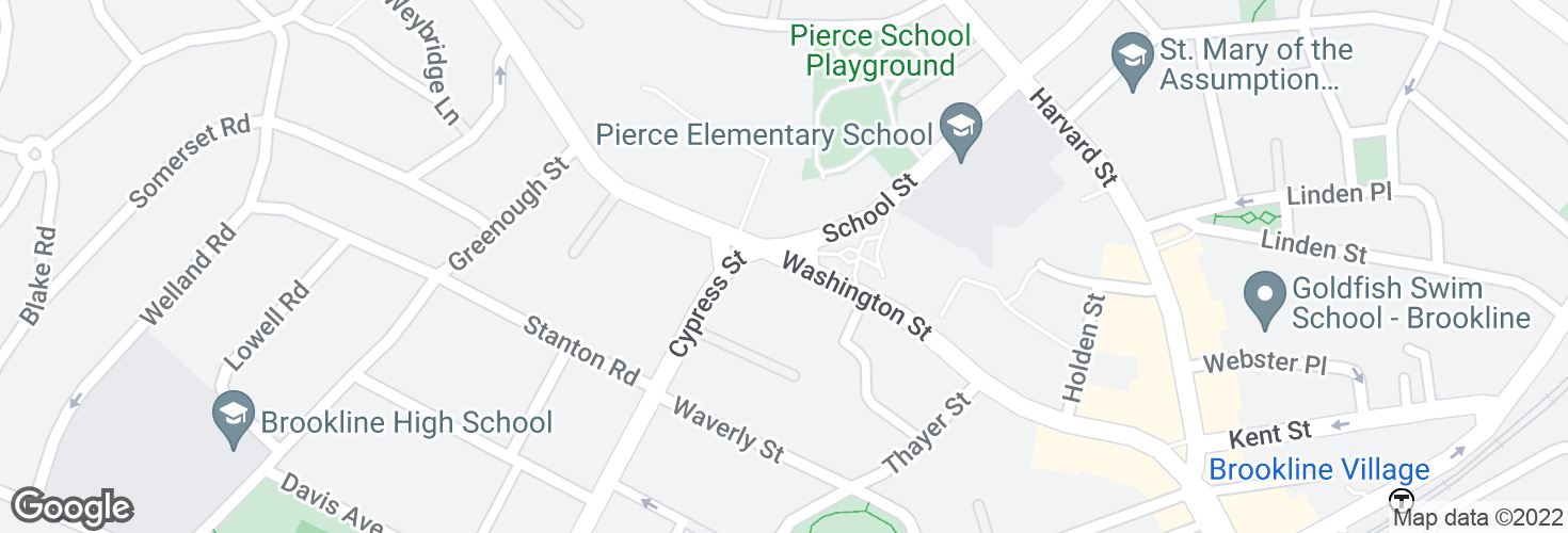 Map of Washington St @ Cypress St and surrounding area