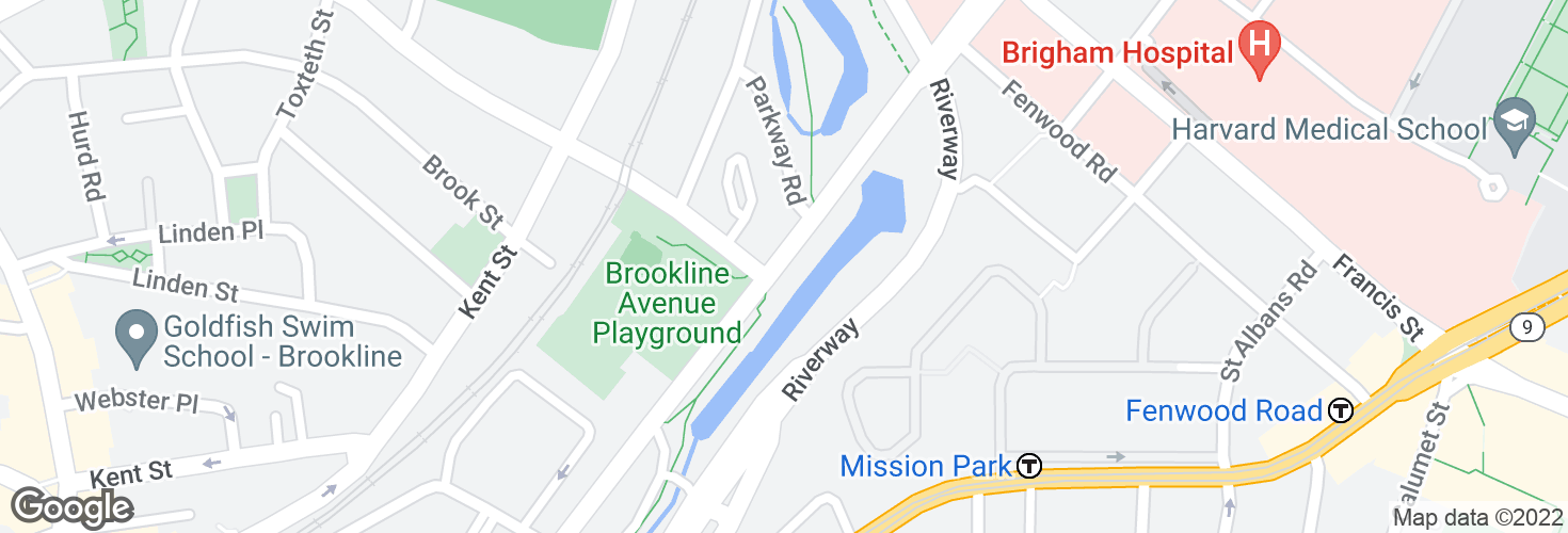 Map of Brookline Ave opp Aspinwall Ave and surrounding area
