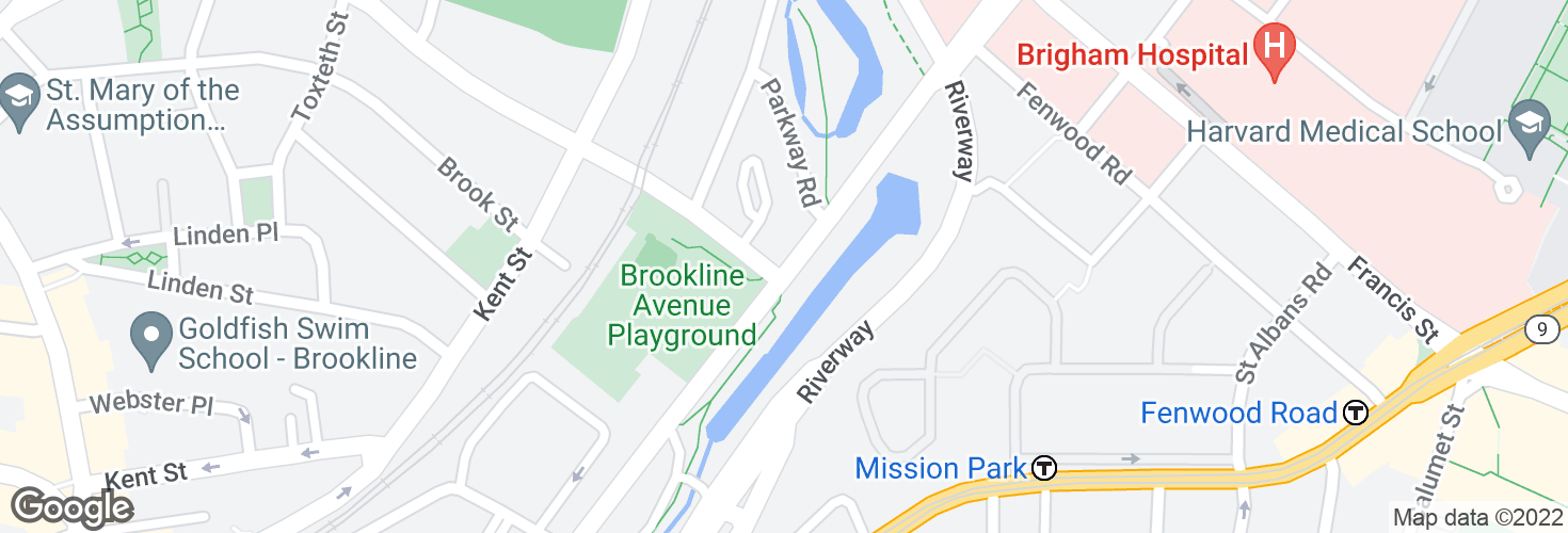 Map of Brookline Ave @ Aspinwall Ave and surrounding area