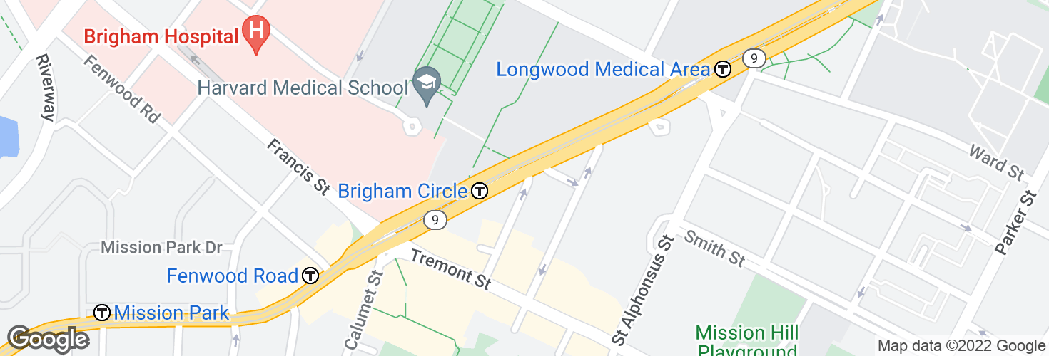 Map of Huntington Ave @ Wigglesworth St and surrounding area