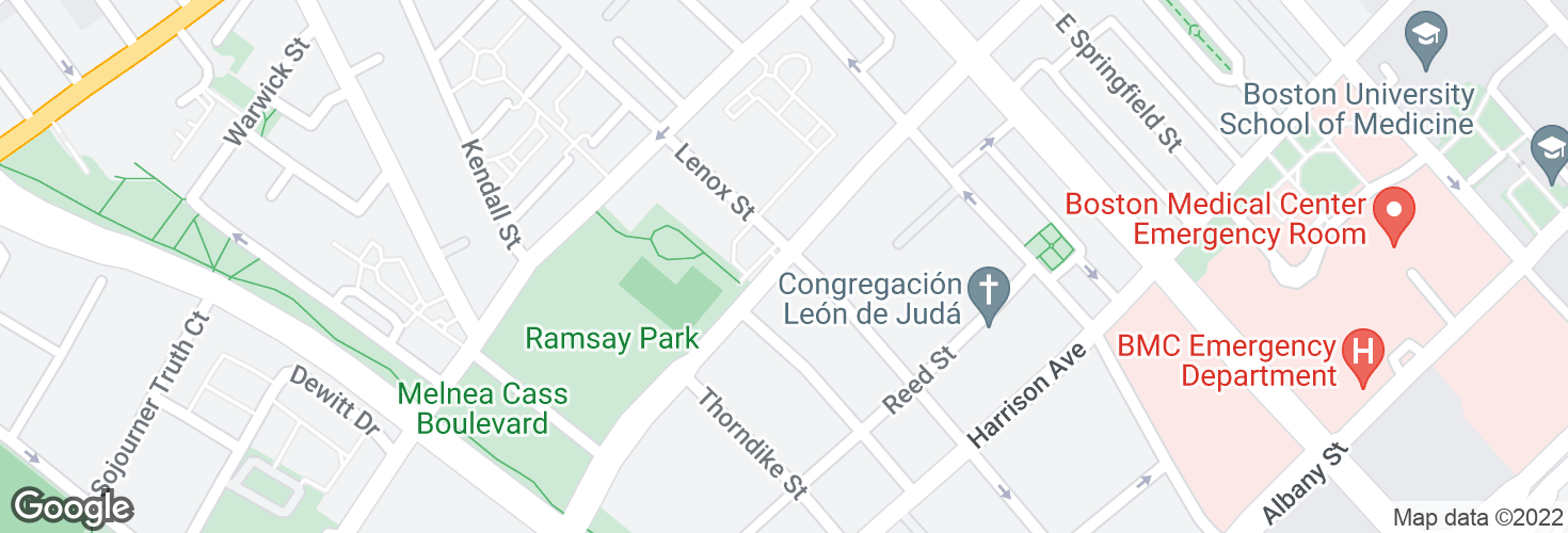 Map of Washington St @ Lenox St and surrounding area