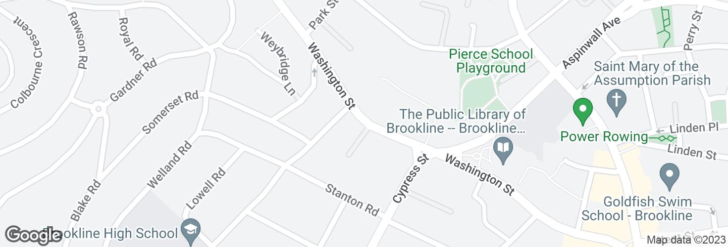 Map of Washington St @ Greenough Circle and surrounding area