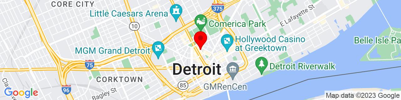 Google Map of 42.3353169, -83.0486035