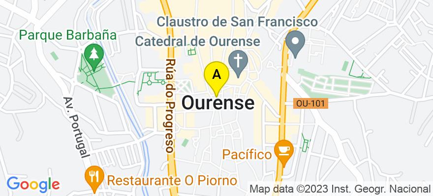 situacion en el mapa de . Direccion: Cardenal Quevedo nº 12, planta 2, Oficina C, 32004 Ourense. Ourense