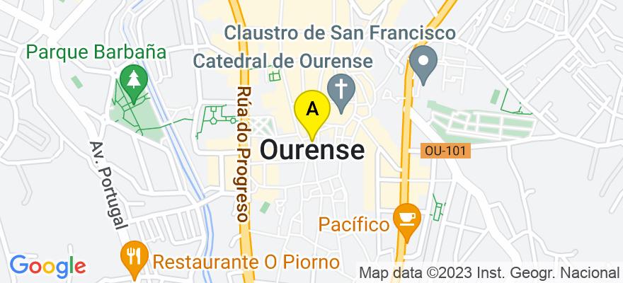 situacion en el mapa de . Direccion: C/Remedios, Nº40, 1ºA, 32002, Ourense., NIF 34897419w, 32004 Ourense. Ourense