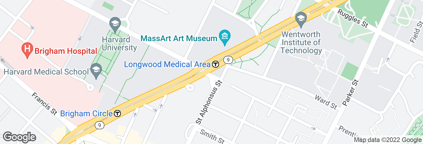 Map of Huntington Ave @ Longwood Ave and surrounding area