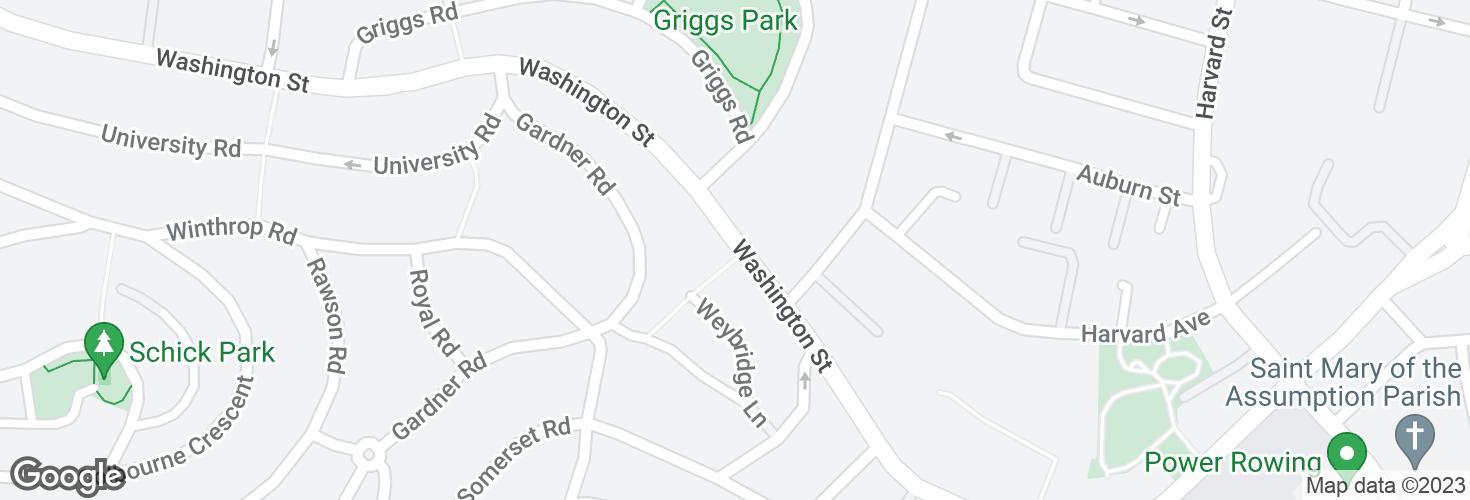 Map of Washington St @ Gardner Path and surrounding area