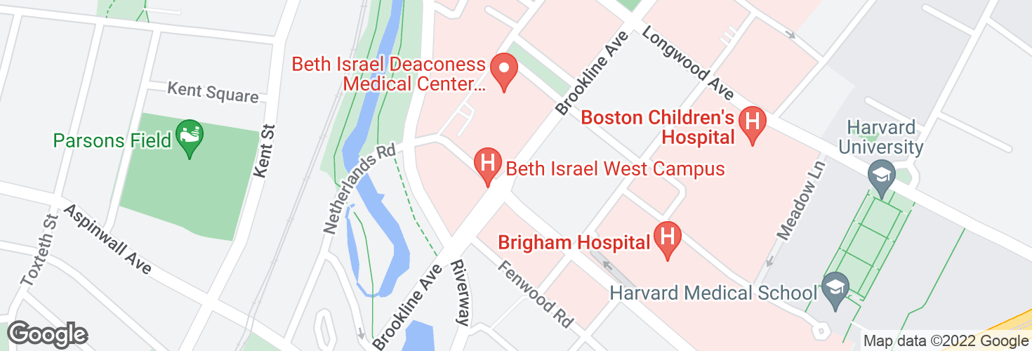Map of Brookline Ave @ Francis St and surrounding area