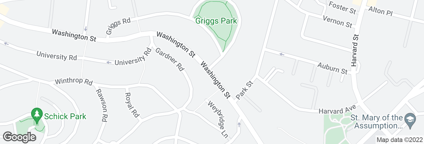 Map of Washington St @ Griggs Rd and surrounding area