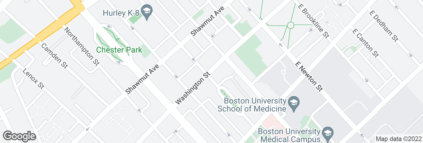 Map of Washington St @ Worcester St and surrounding area