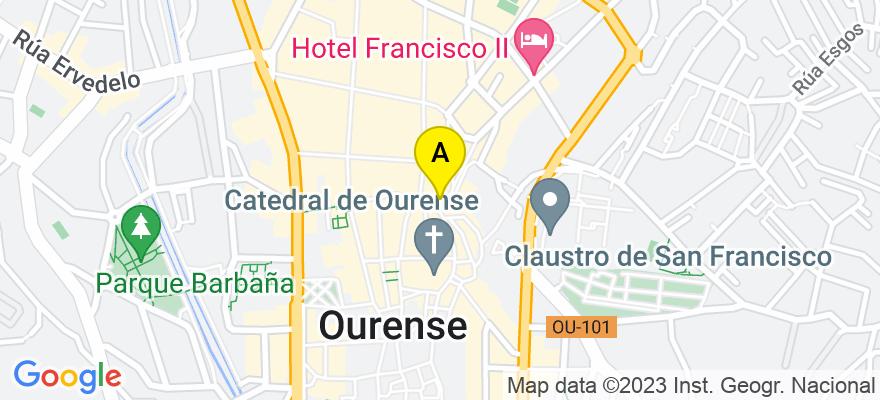 situacion en el mapa de . Direccion: Rúa do Páxaro, 3 -1º, 32005 Ourense. Ourense