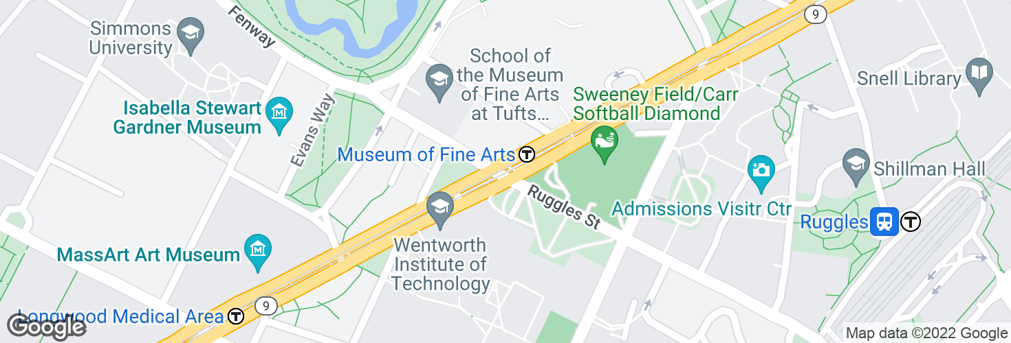 Map of Museum of Fine Arts and surrounding area