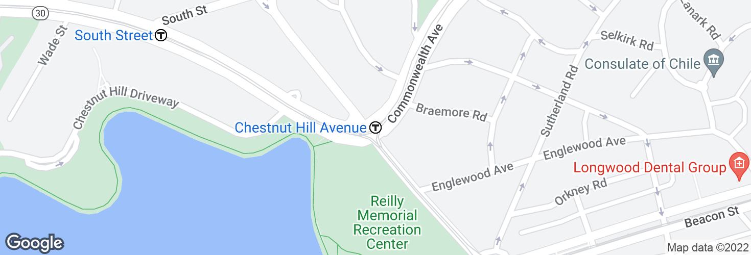 Map of Chestnut Hill Avenue and surrounding area