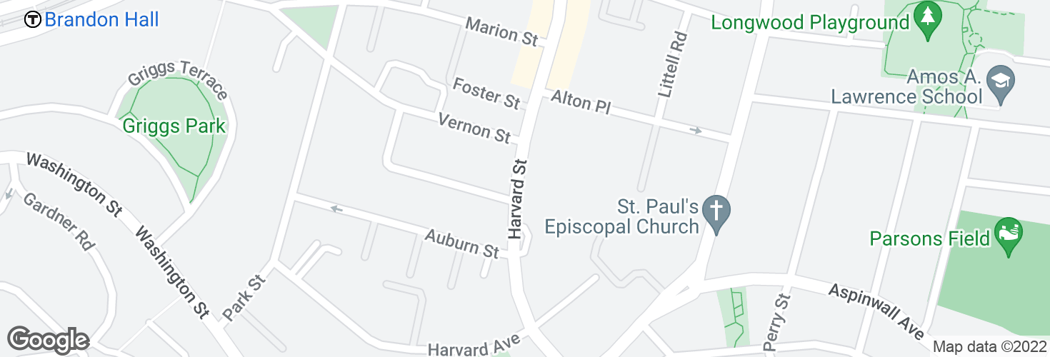 Map of Harvard St opp Vernon St and surrounding area