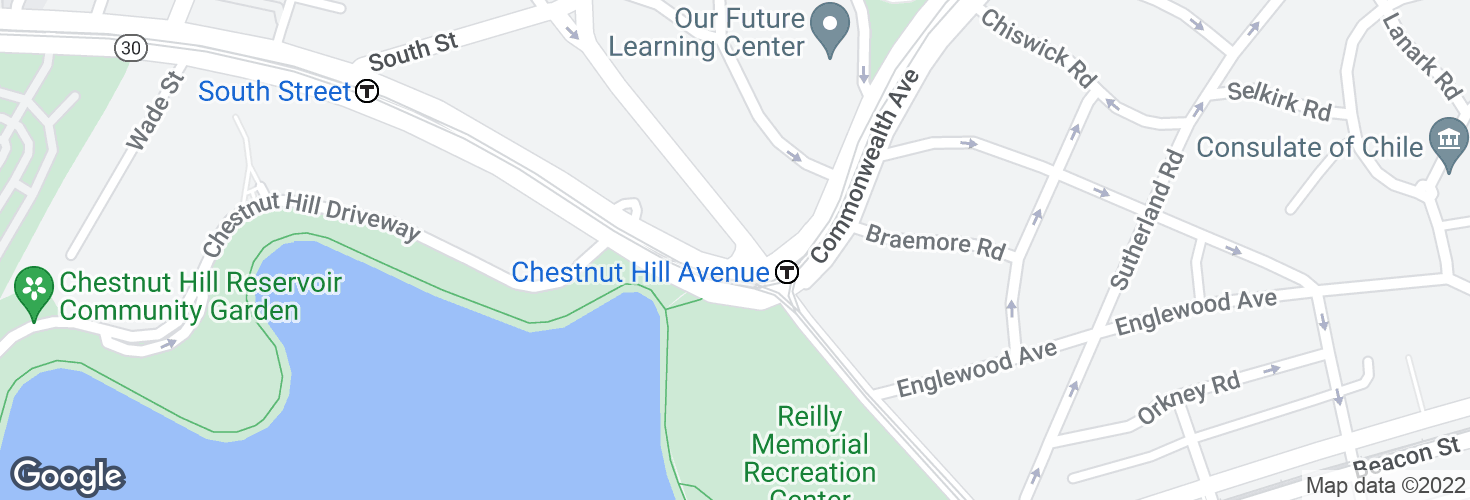 Map of Chestnut Hill Ave @ Commonwealth Ave and surrounding area