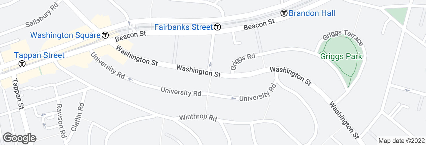 Map of Washington St @ Fairbanks St and surrounding area