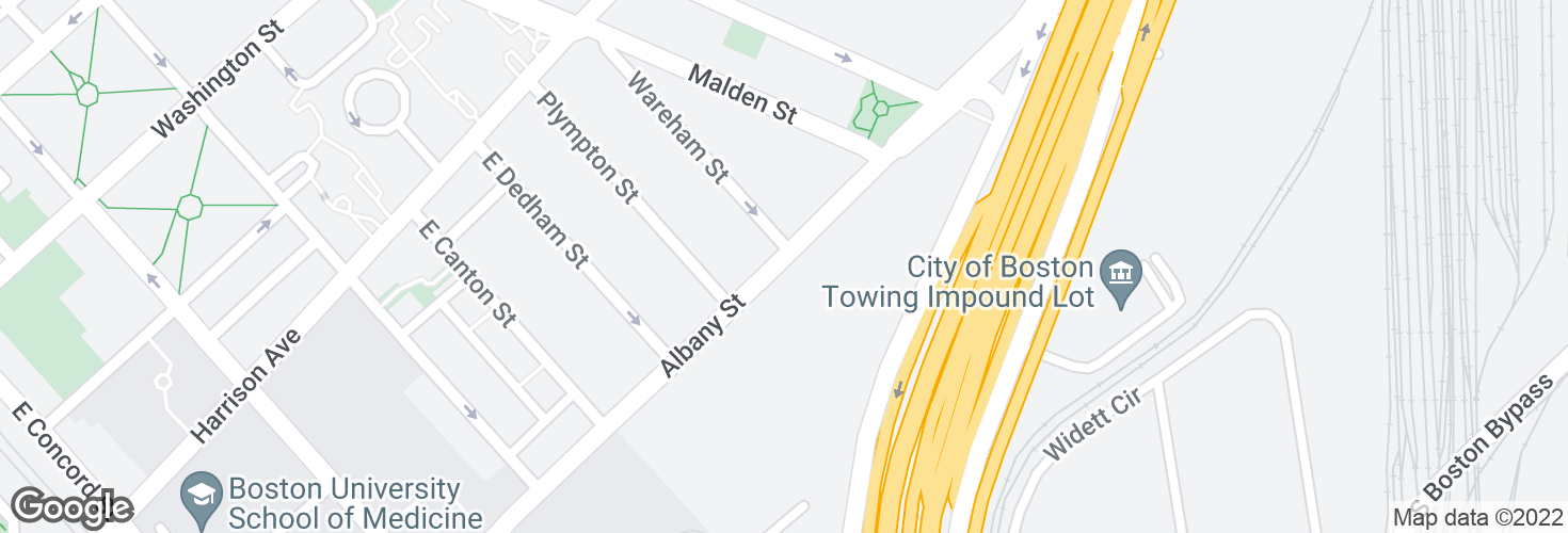 Map of 540 Albany St opp Wareham St and surrounding area