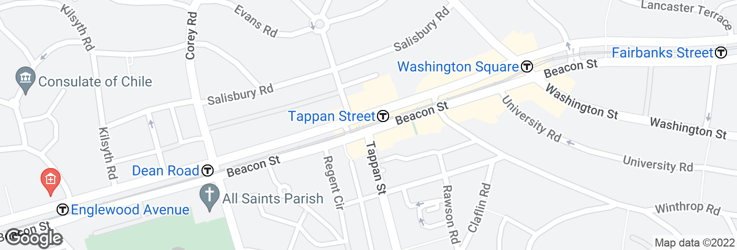 Map of Tappan Street and surrounding area