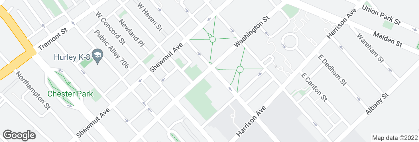 Map of Washington St @ E Newton St and surrounding area