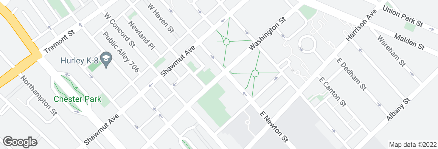 Map of Washington St @ W Newton St and surrounding area