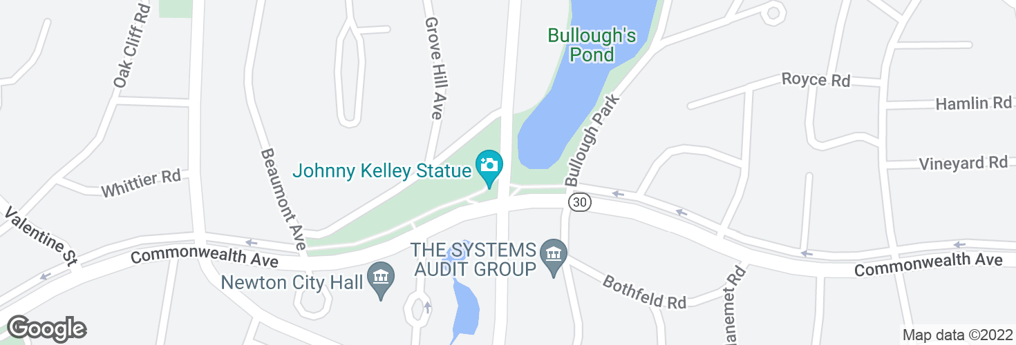 Map of Walnut St @ Commonwealth Ave and surrounding area