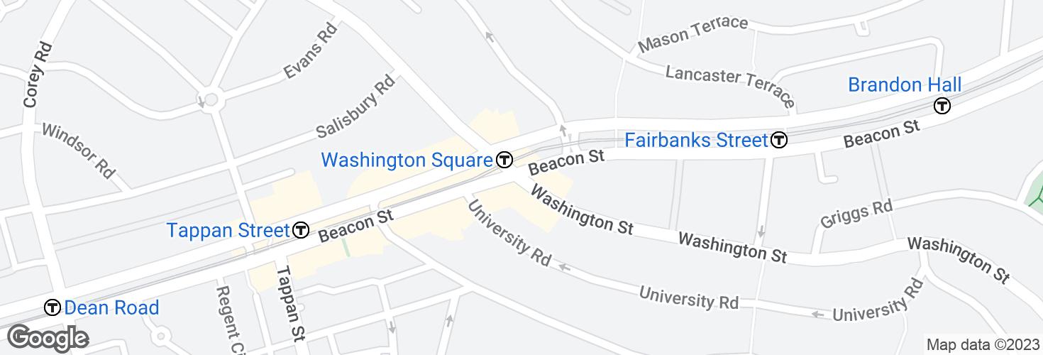 Map of Washington St @ Beacon St and surrounding area