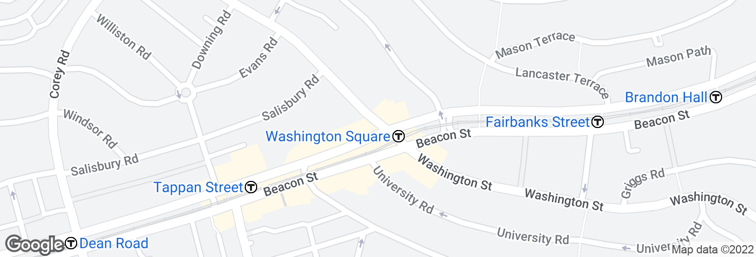 Map of Washington St @ Beacon St and surrounding area