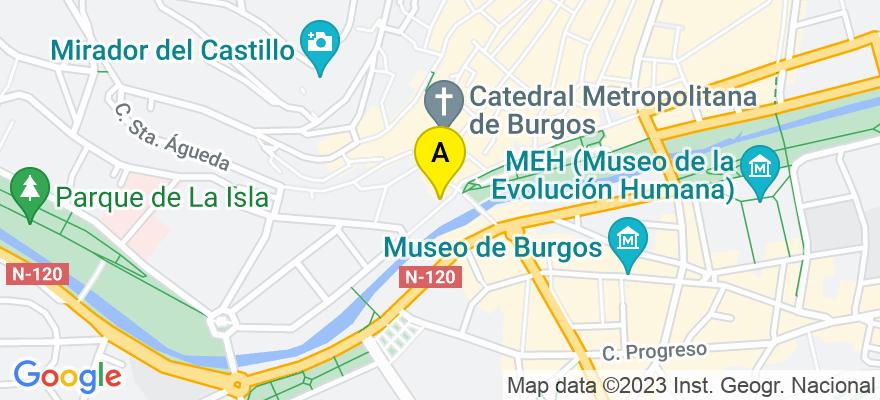 situacion en el mapa de . Direccion: PASEO DE LA AUDIENCIA, Nº 2, 4º, 09003 Burgos. Burgos