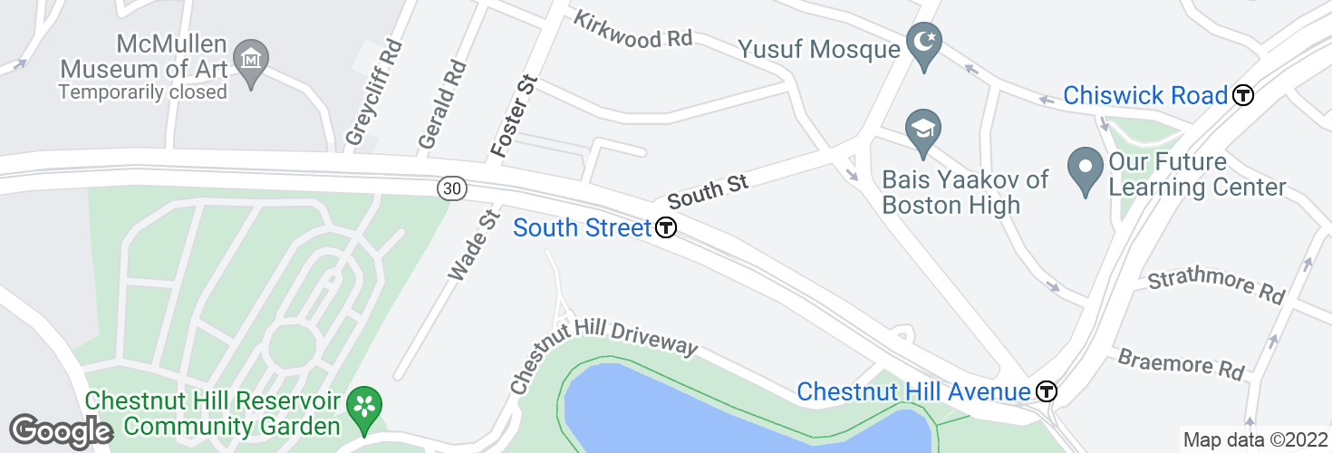 Map of South Street and surrounding area