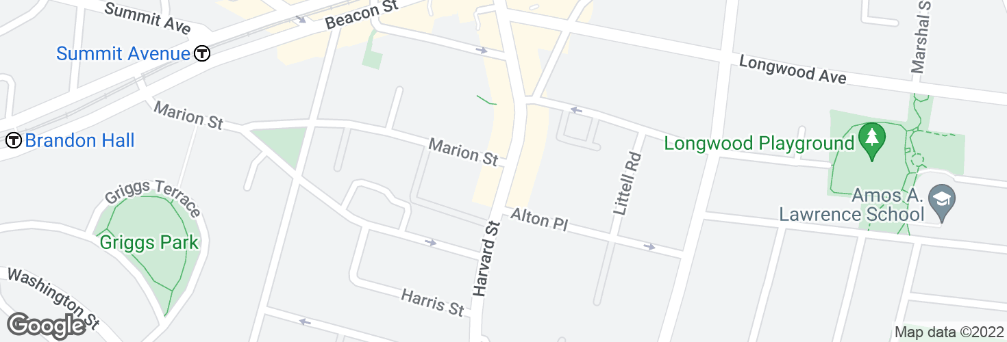 Map of Harvard St @ Marion St and surrounding area
