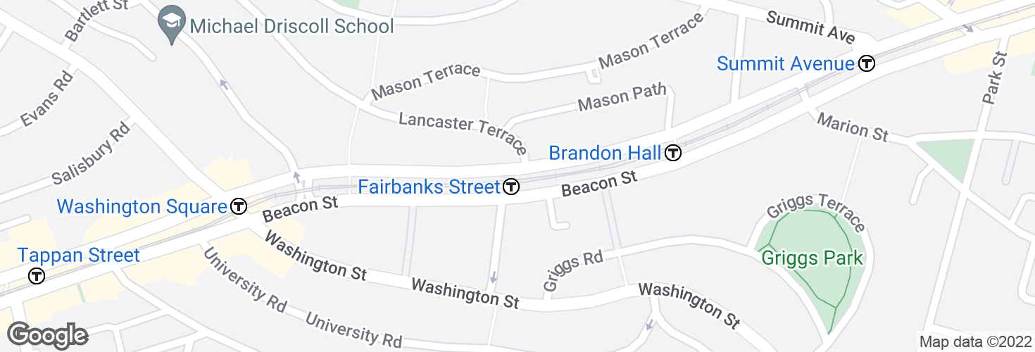 Map of Fairbanks Street and surrounding area