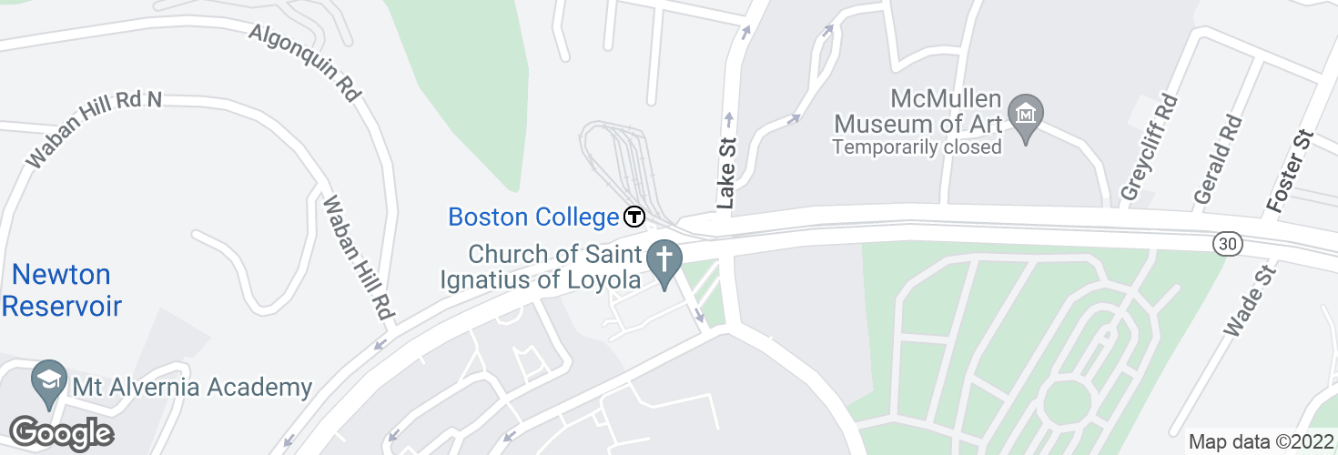 Map of Boston College and surrounding area