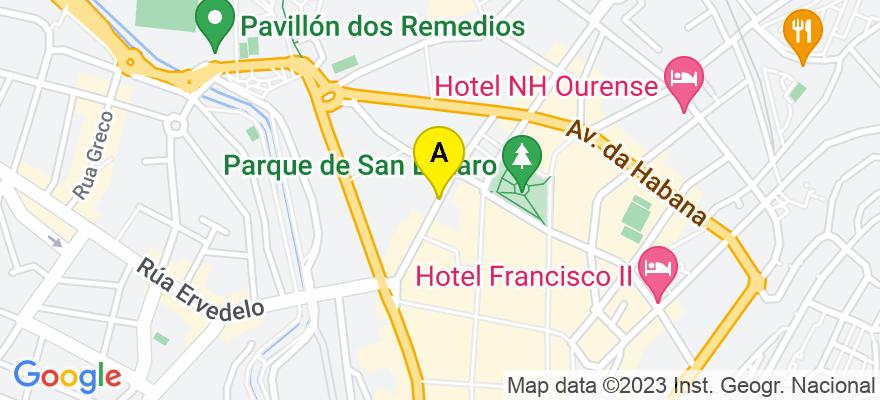 situacion en el mapa de . Direccion: Calle Juan XXIII, 32003 Ourense. Ourense