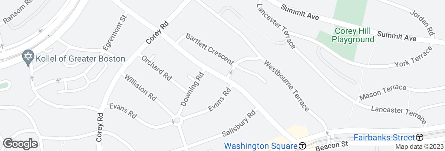 Map of Washington St @ Bartlett St and surrounding area
