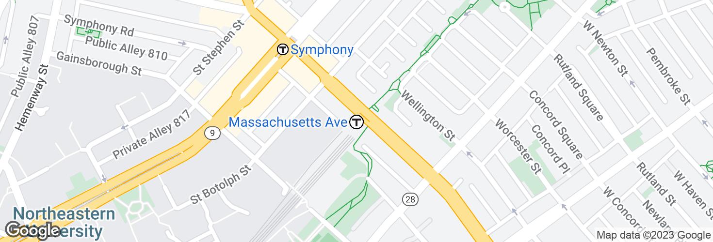Map of Massachusetts Avenue and surrounding area