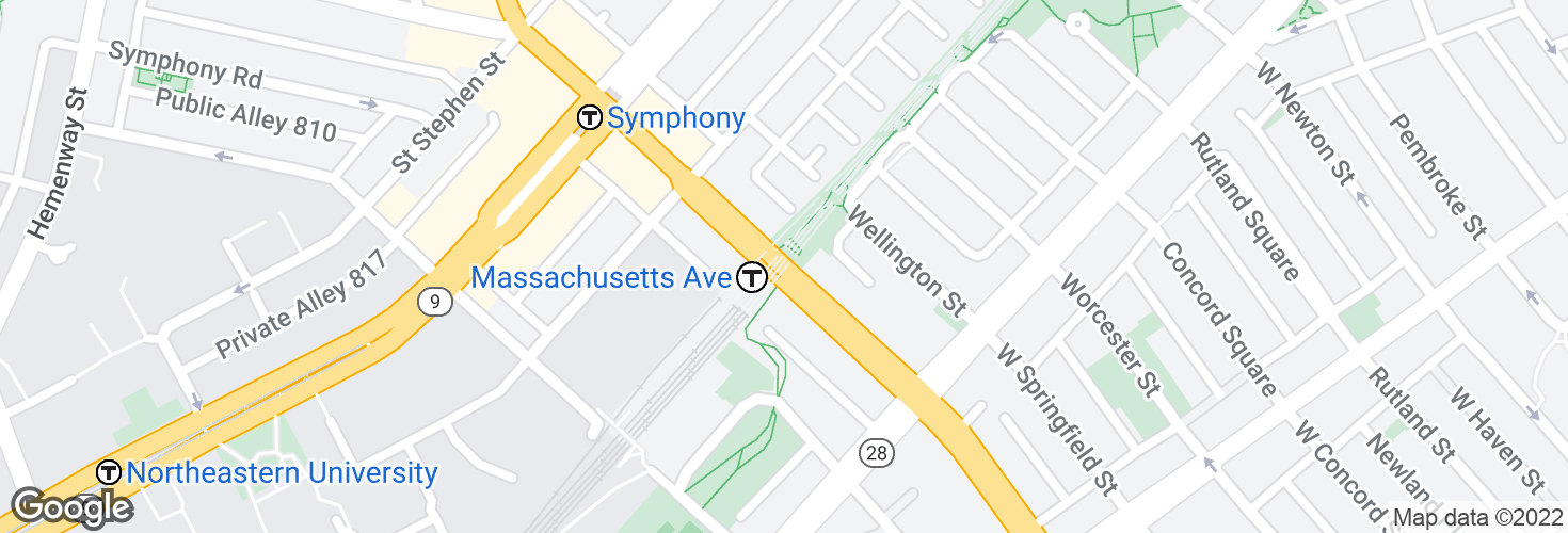 Map of Massachusetts Ave @ Massachusetts Ave Station and surrounding area