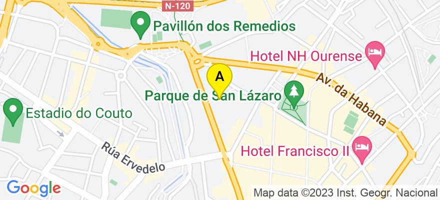 situacion en el mapa de . Direccion: Alameda do Cruceiro Nº 7B Of.3, 32003 Ourense. Ourense