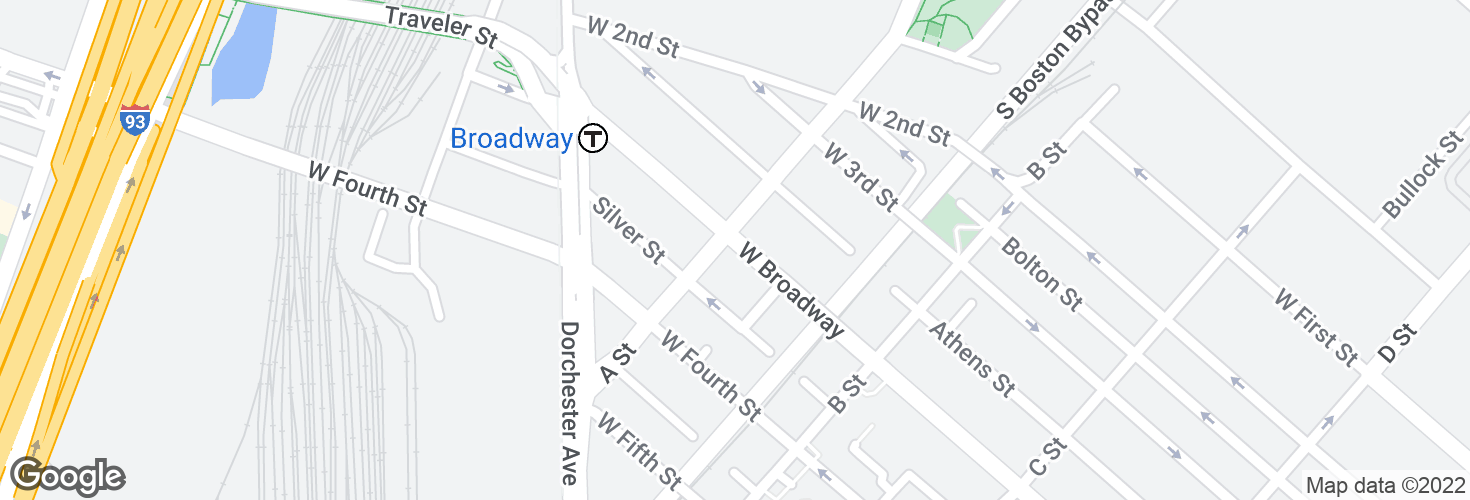 Map of W Broadway @ A St and surrounding area